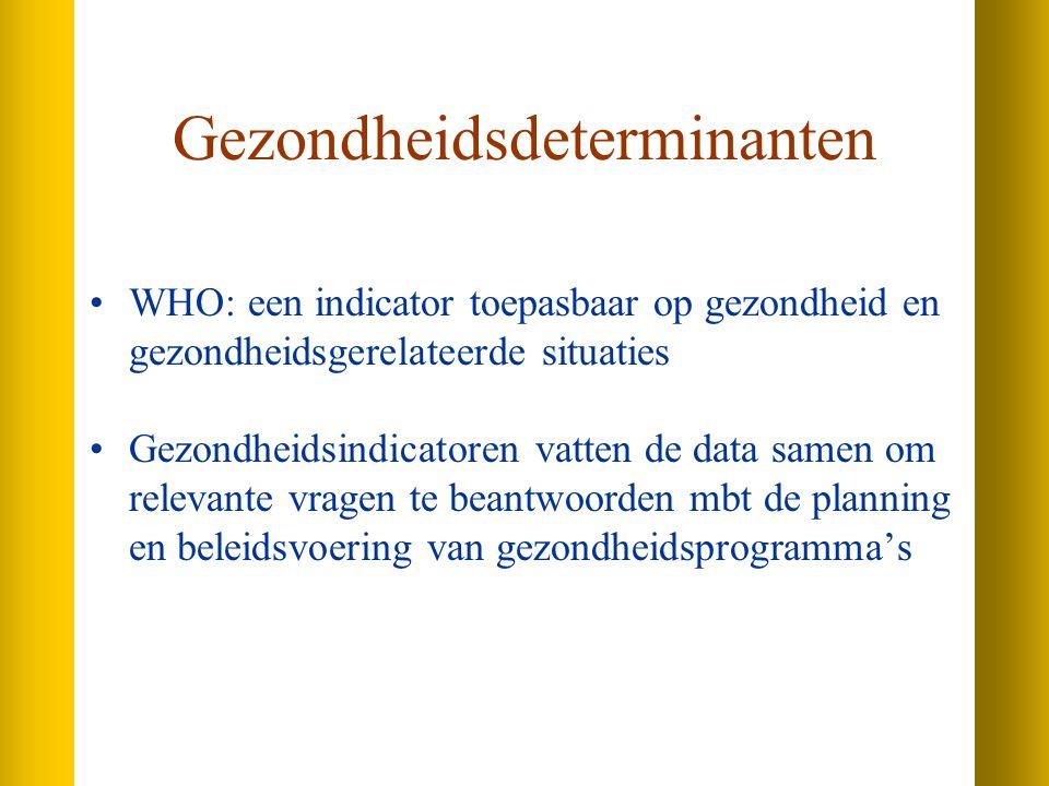 Gezondheidsdeterminanten WHO: een indicator toepasbaar op gezondheid en gezondheidsgerelateerde situaties Gezondheidsindicatoren vatten de data samen om relevante vragen te beantwoorden mbt de planning en beleidsvoering van gezondheidsprogramma's
