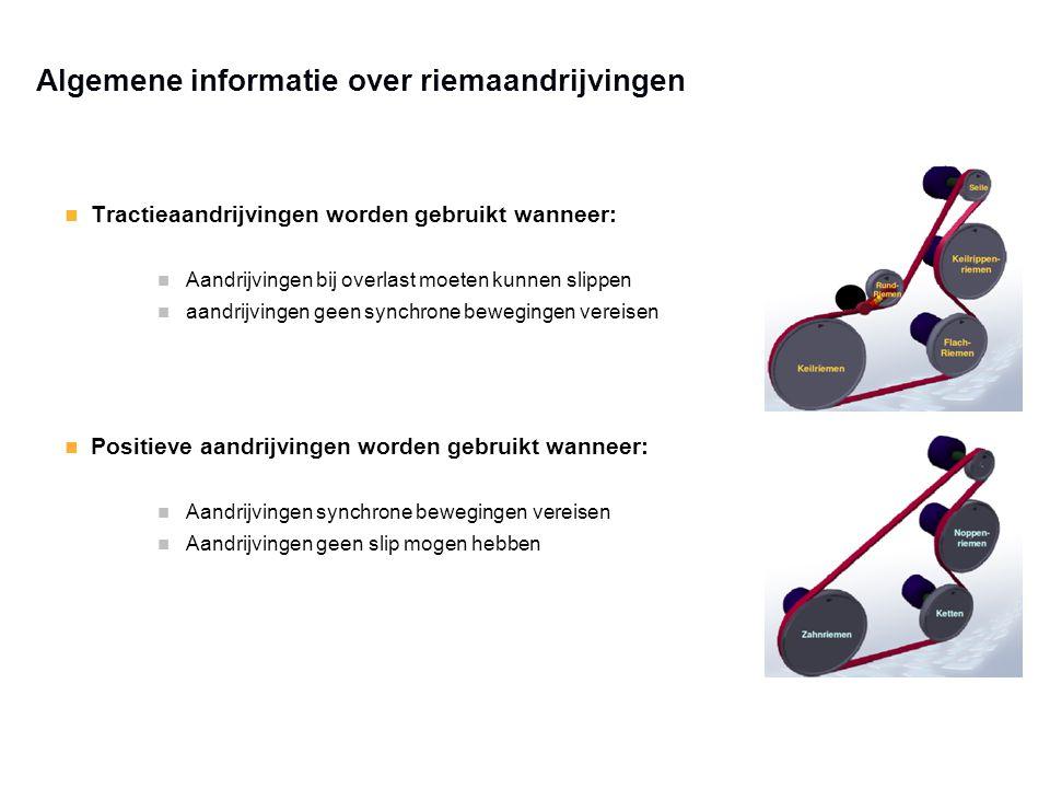 Algemene informatie over riemaandrijvingen Tractieaandrijvingen worden gebruikt wanneer: Aandrijvingen bij overlast moeten kunnen slippen aandrijvinge