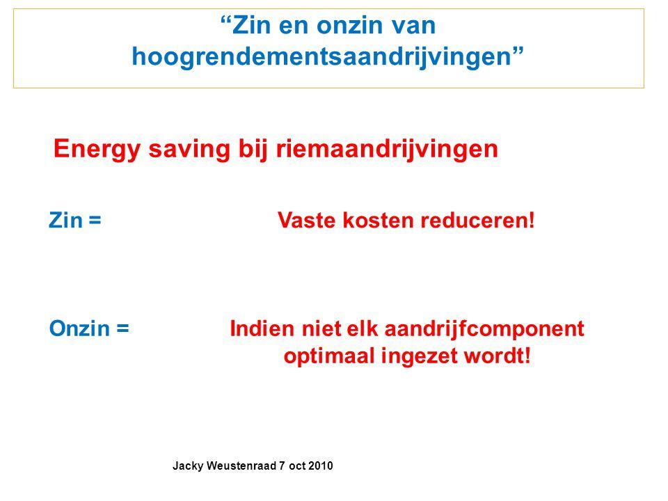 """""""Zin en onzin van hoogrendementsaandrijvingen"""" Energy saving bij riemaandrijvingen Zin =Vaste kosten reduceren! Onzin =Indien niet elk aandrijfcompone"""