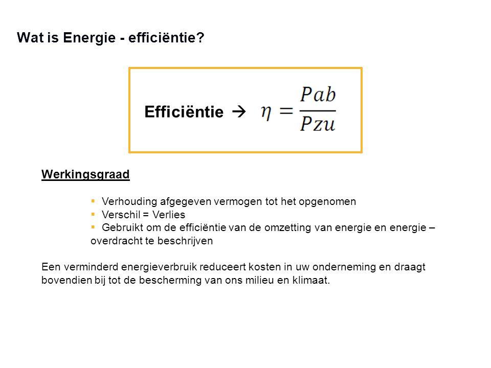 Wat is Energie - efficiëntie? Efficiëntie  Werkingsgraad  Verhouding afgegeven vermogen tot het opgenomen  Verschil = Verlies  Gebruikt om de effi