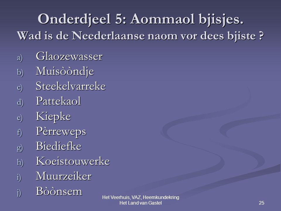 25 Het Veerhuis, VAZ, Heemkundekring Het Land van Gastel Onderdjeel 5: Aommaol bjisjes.