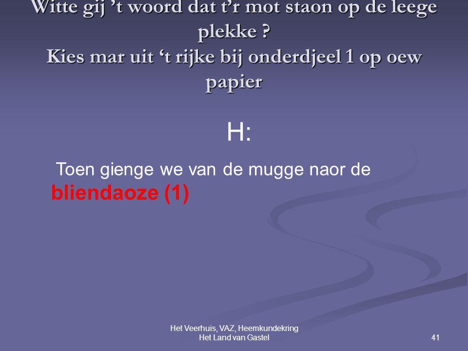 41 Het Veerhuis, VAZ, Heemkundekring Het Land van Gastel Witte gij 't woord dat t'r mot staon op de leege plekke .