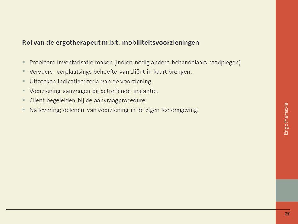 15 Rol van de ergotherapeut m.b.t.