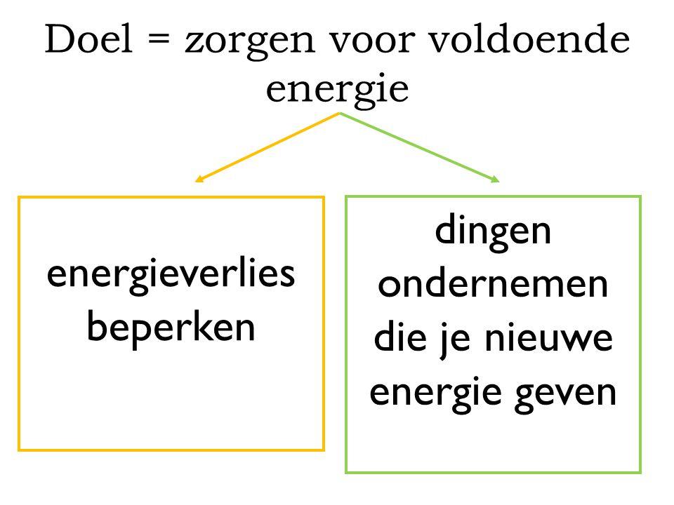 Doel = zorgen voor voldoende energie energieverlies beperken dingen ondernemen die je nieuwe energie geven