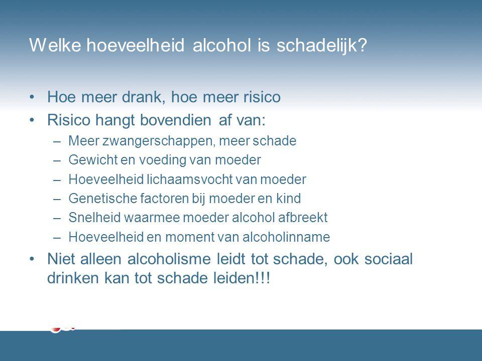 Welke hoeveelheid alcohol is schadelijk? Hoe meer drank, hoe meer risico Risico hangt bovendien af van: –Meer zwangerschappen, meer schade –Gewicht en