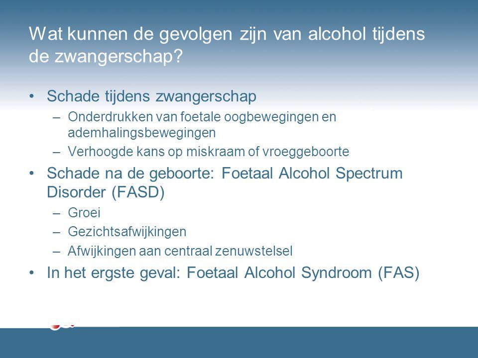 Wat kunnen de gevolgen zijn van alcohol tijdens de zwangerschap? Schade tijdens zwangerschap –Onderdrukken van foetale oogbewegingen en ademhalingsbew