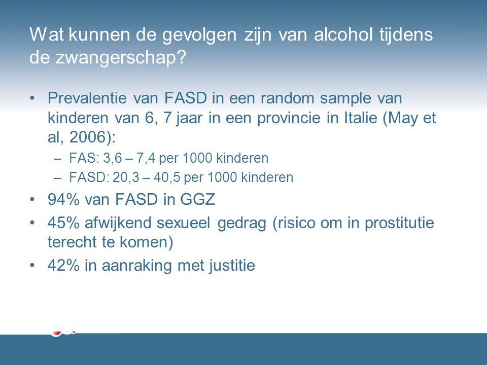 Wat kunnen de gevolgen zijn van alcohol tijdens de zwangerschap? Prevalentie van FASD in een random sample van kinderen van 6, 7 jaar in een provincie
