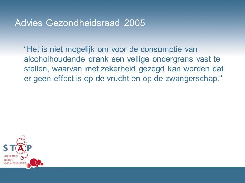 """Advies Gezondheidsraad 2005 """"Het is niet mogelijk om voor de consumptie van alcoholhoudende drank een veilige ondergrens vast te stellen, waarvan met"""