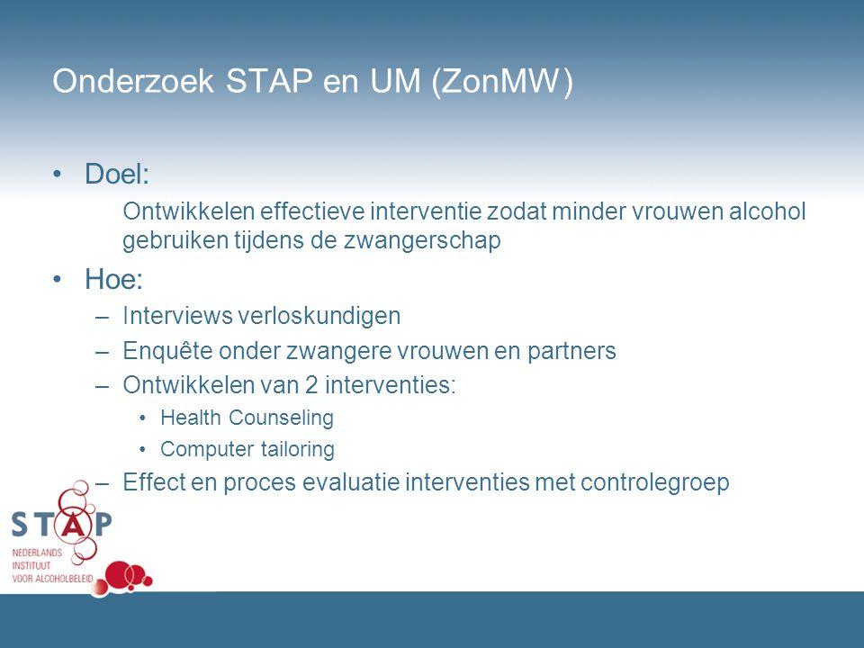 Onderzoek STAP en UM (ZonMW) Doel: Ontwikkelen effectieve interventie zodat minder vrouwen alcohol gebruiken tijdens de zwangerschap Hoe: –Interviews