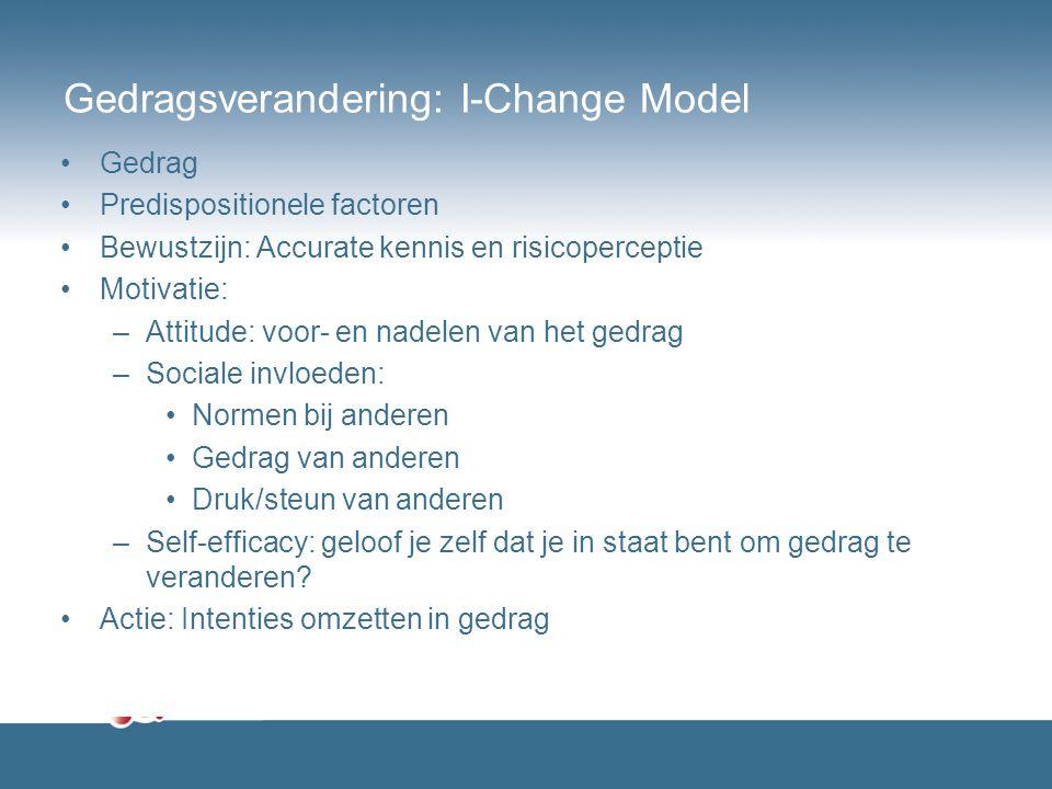 Gedragsverandering: I-Change Model Gedrag Predispositionele factoren Bewustzijn: Accurate kennis en risicoperceptie Motivatie: –Attitude: voor- en nad