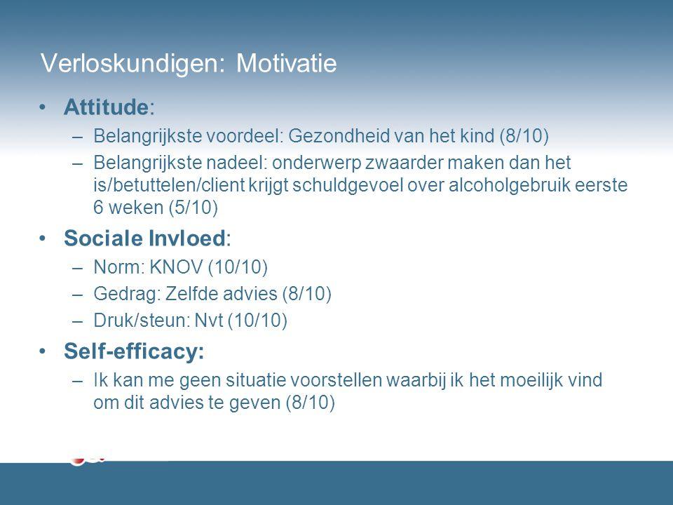 Verloskundigen: Motivatie Attitude: –Belangrijkste voordeel: Gezondheid van het kind (8/10) –Belangrijkste nadeel: onderwerp zwaarder maken dan het is