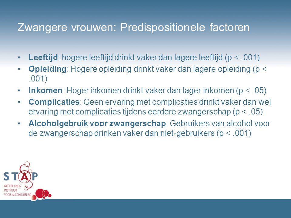 Zwangere vrouwen: Predispositionele factoren Leeftijd: hogere leeftijd drinkt vaker dan lagere leeftijd (p <.001) Opleiding: Hogere opleiding drinkt v