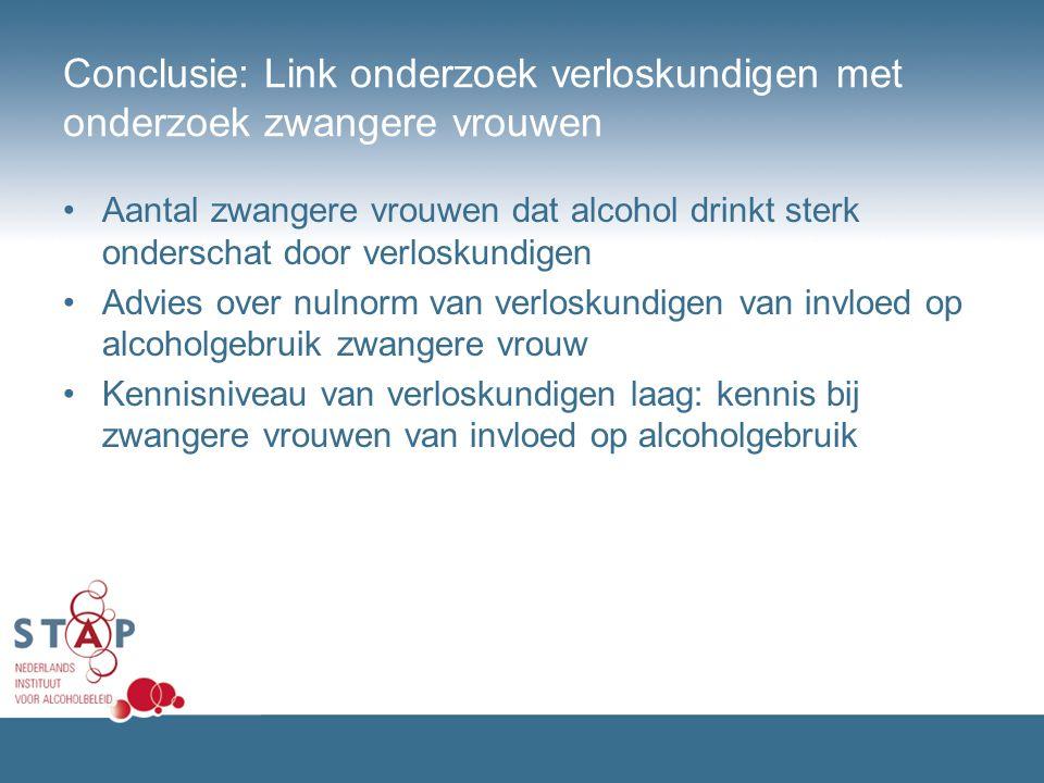 Conclusie: Link onderzoek verloskundigen met onderzoek zwangere vrouwen Aantal zwangere vrouwen dat alcohol drinkt sterk onderschat door verloskundige