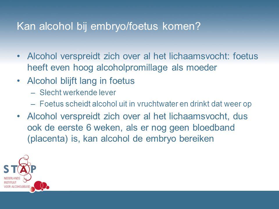 Kan alcohol bij embryo/foetus komen? Alcohol verspreidt zich over al het lichaamsvocht: foetus heeft even hoog alcoholpromillage als moeder Alcohol bl