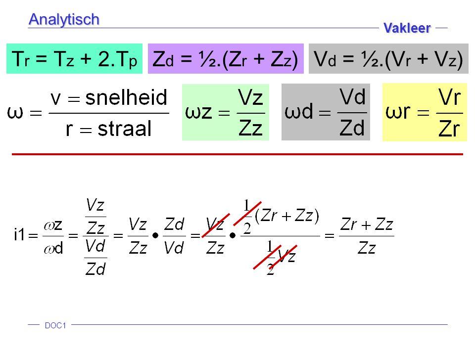 DOC1 Vakleer Analytisch T r = T z + 2.T p Z d = ½.(Z r + Z z )V d = ½.(V r + V z )