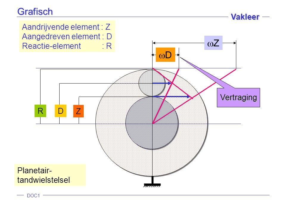 DOC1 Vakleer Z D R ZZ DD Aandrijvende element : Z Aangedreven element : D Reactie-element : R Planetair- tandwielstelsel Vertraging Grafisch