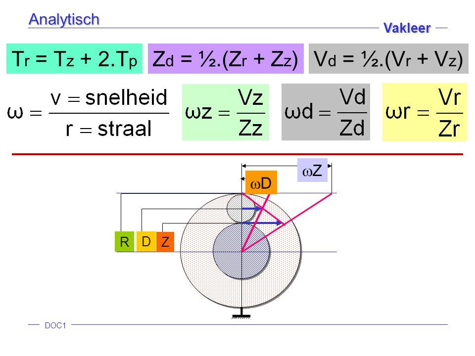 DOC1 Vakleer Z D R ZZ DD T r = T z + 2.T p Z d = ½.(Z r + Z z )V d = ½.(V r + V z ) Analytisch
