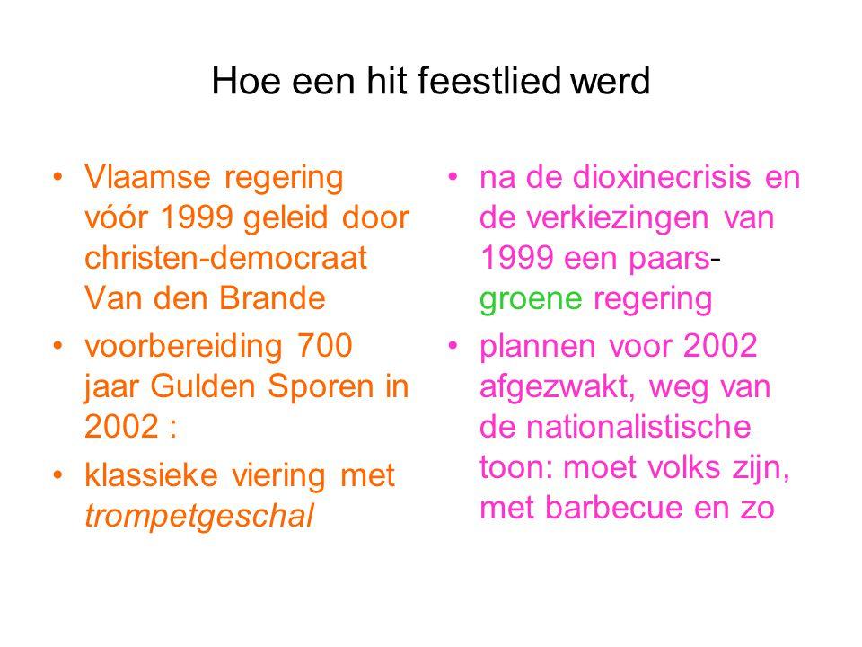 Hoe een hit feestlied werd Vlaamse regering vóór 1999 geleid door christen-democraat Van den Brande voorbereiding 700 jaar Gulden Sporen in 2002 : kla