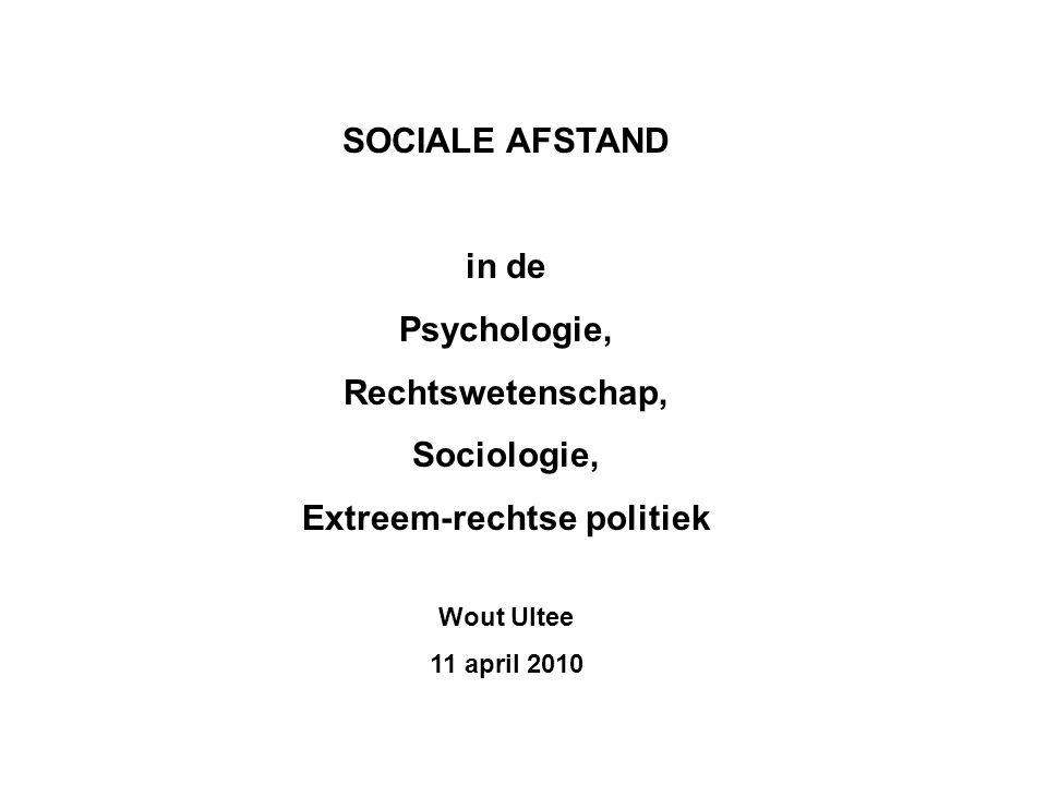 SOCIALE AFSTAND in de Psychologie, Rechtswetenschap, Sociologie, Extreem-rechtse politiek Wout Ultee 11 april 2010