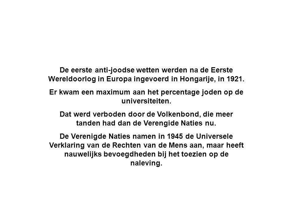 De eerste anti-joodse wetten werden na de Eerste Wereldoorlog in Europa ingevoerd in Hongarije, in 1921. Er kwam een maximum aan het percentage joden