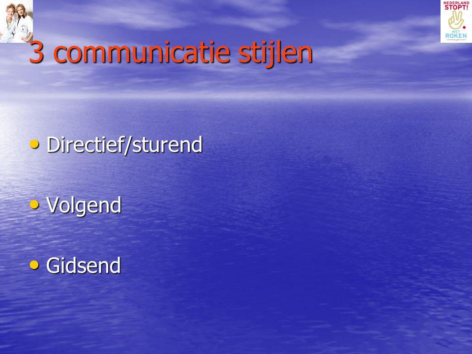 3 communicatie stijlen Directief/sturend Directief/sturend Volgend Volgend Gidsend Gidsend