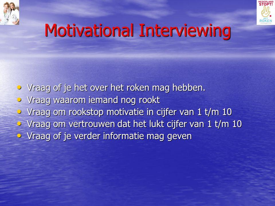 Motivational Interviewing Vraag of je het over het roken mag hebben. Vraag of je het over het roken mag hebben. Vraag waarom iemand nog rookt Vraag wa