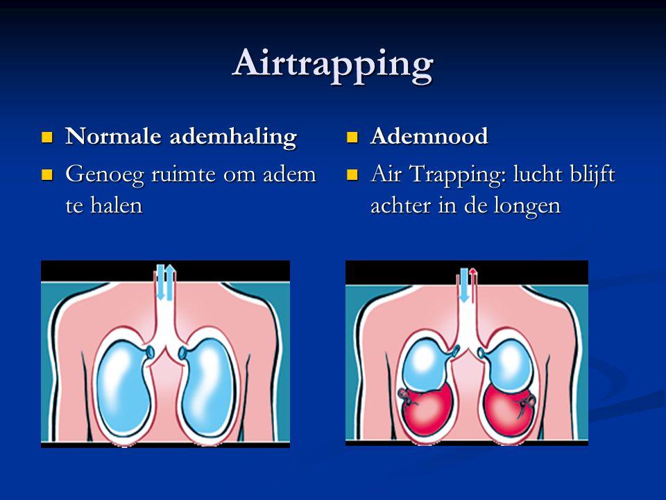 Airtrapping Normale ademhaling Normale ademhaling Genoeg ruimte om adem te halen Genoeg ruimte om adem te halen Ademnood Air Trapping: lucht blijft achter in de longen