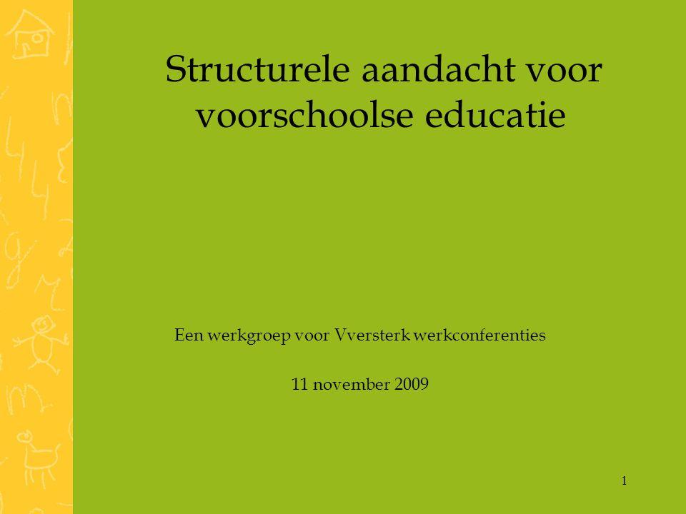 1 Structurele aandacht voor voorschoolse educatie Een werkgroep voor Vversterk werkconferenties 11 november 2009