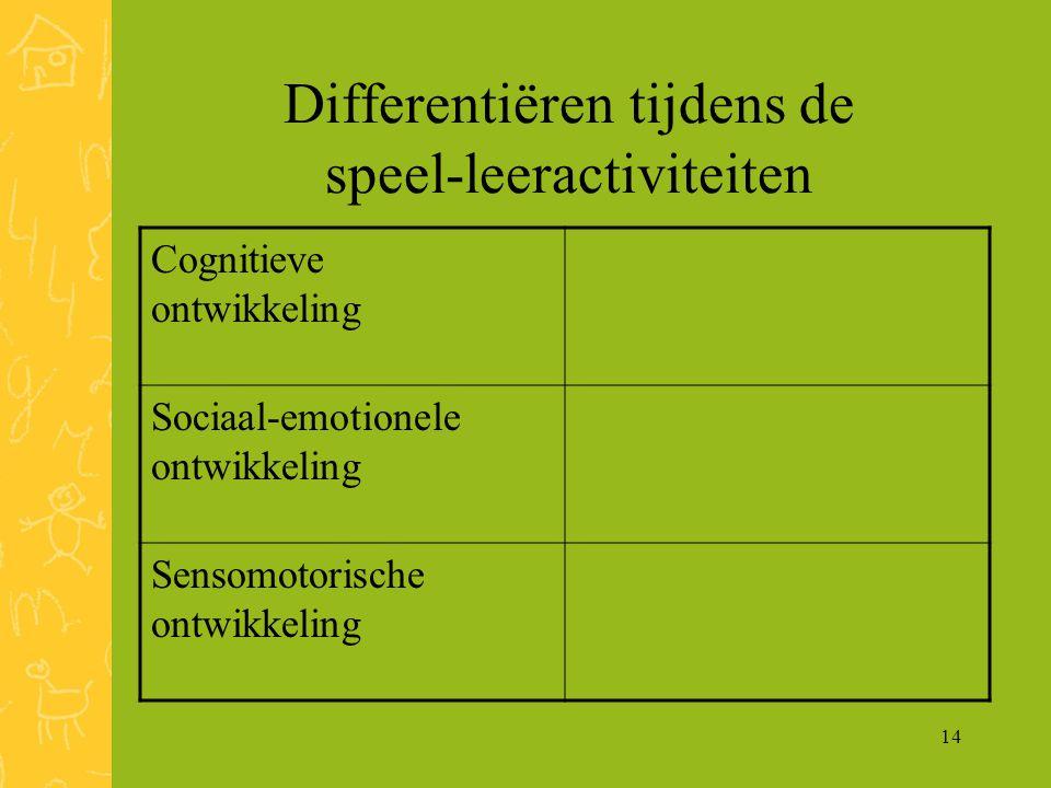 14 Differentiëren tijdens de speel-leeractiviteiten Cognitieve ontwikkeling Sociaal-emotionele ontwikkeling Sensomotorische ontwikkeling