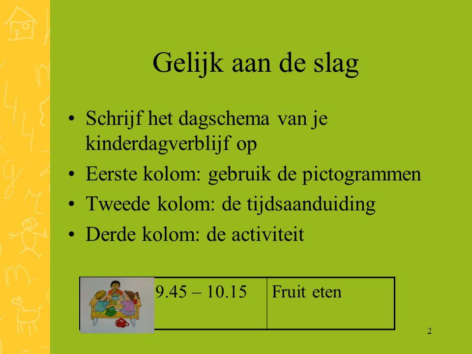 2 Gelijk aan de slag Schrijf het dagschema van je kinderdagverblijf op Eerste kolom: gebruik de pictogrammen Tweede kolom: de tijdsaanduiding Derde kolom: de activiteit 9.45 – 10.15Fruit eten