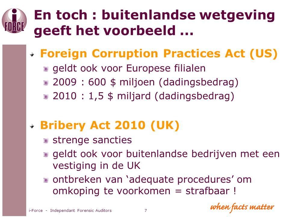En toch : buitenlandse wetgeving geeft het voorbeeld... Foreign Corruption Practices Act (US) geldt ook voor Europese filialen 2009 : 600 $ miljoen (d
