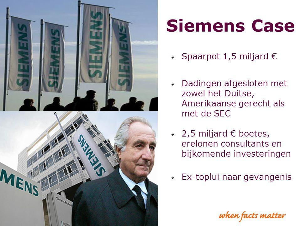 8 Siemens Case Spaarpot 1,5 miljard € Dadingen afgesloten met zowel het Duitse, Amerikaanse gerecht als met de SEC 2,5 miljard € boetes, erelonen cons