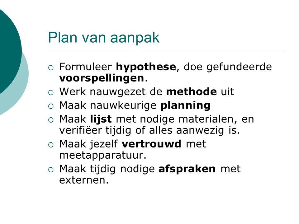 Plan van aanpak  Formuleer hypothese, doe gefundeerde voorspellingen.  Werk nauwgezet de methode uit  Maak nauwkeurige planning  Maak lijst met no