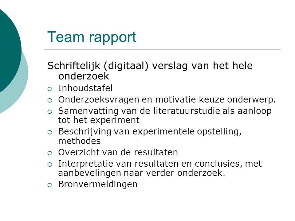 Team rapport Schriftelijk (digitaal) verslag van het hele onderzoek  Inhoudstafel  Onderzoeksvragen en motivatie keuze onderwerp.  Samenvatting van
