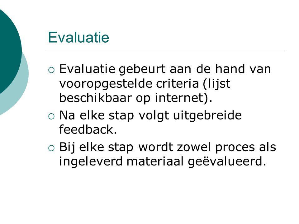  Evaluatie gebeurt aan de hand van vooropgestelde criteria (lijst beschikbaar op internet).  Na elke stap volgt uitgebreide feedback.  Bij elke sta