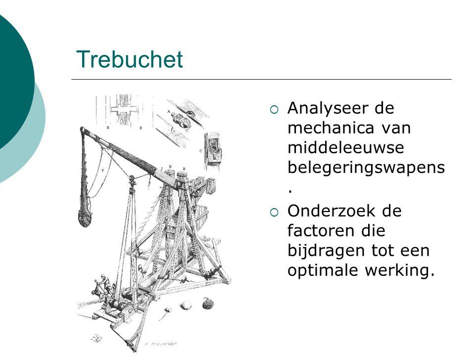 Trebuchet  Analyseer de mechanica van middeleeuwse belegeringswapens.  Onderzoek de factoren die bijdragen tot een optimale werking.