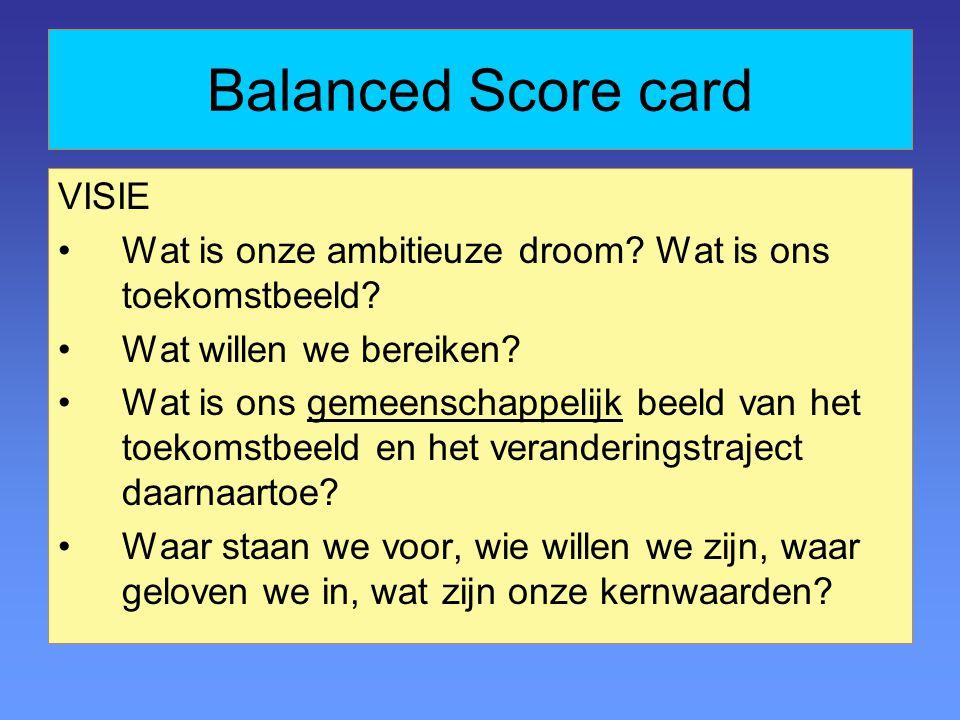 Balanced Score card VISIE Wat is onze ambitieuze droom.