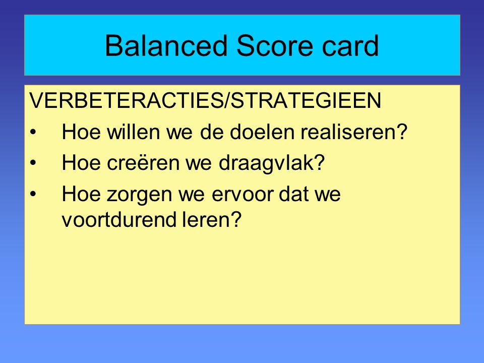 Balanced Score card VERBETERACTIES/STRATEGIEEN Hoe willen we de doelen realiseren.