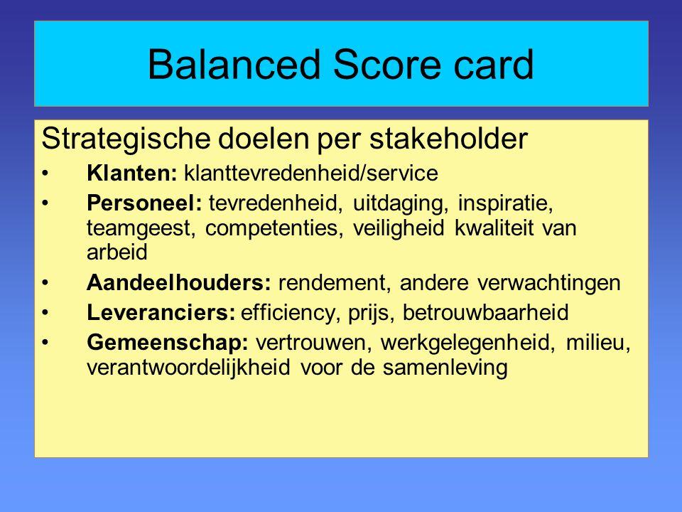 Balanced Score card Strategische doelen per stakeholder Klanten: klanttevredenheid/service Personeel: tevredenheid, uitdaging, inspiratie, teamgeest, competenties, veiligheid kwaliteit van arbeid Aandeelhouders: rendement, andere verwachtingen Leveranciers: efficiency, prijs, betrouwbaarheid Gemeenschap: vertrouwen, werkgelegenheid, milieu, verantwoordelijkheid voor de samenleving