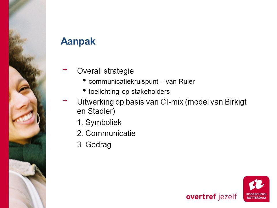 Aanpak Overall strategie communicatiekruispunt - van Ruler toelichting op stakeholders Uitwerking op basis van CI-mix (model van Birkigt en Stadler) 1