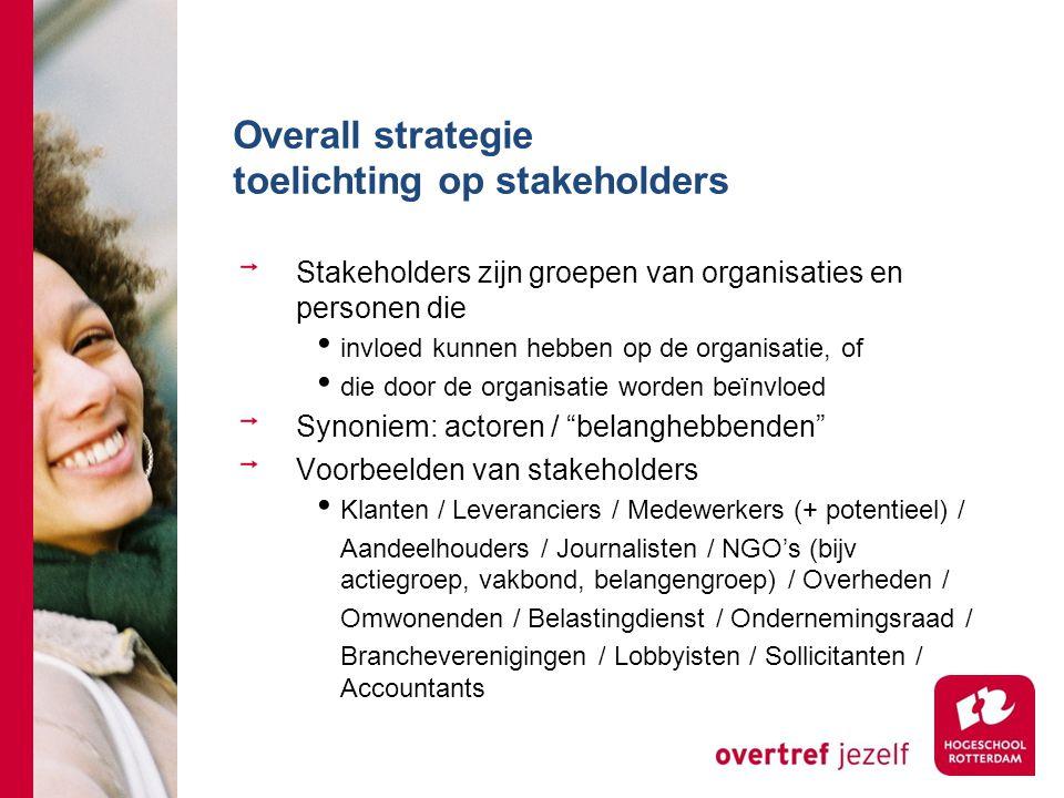 Overall strategie toelichting op stakeholders Stakeholders zijn groepen van organisaties en personen die invloed kunnen hebben op de organisatie, of d