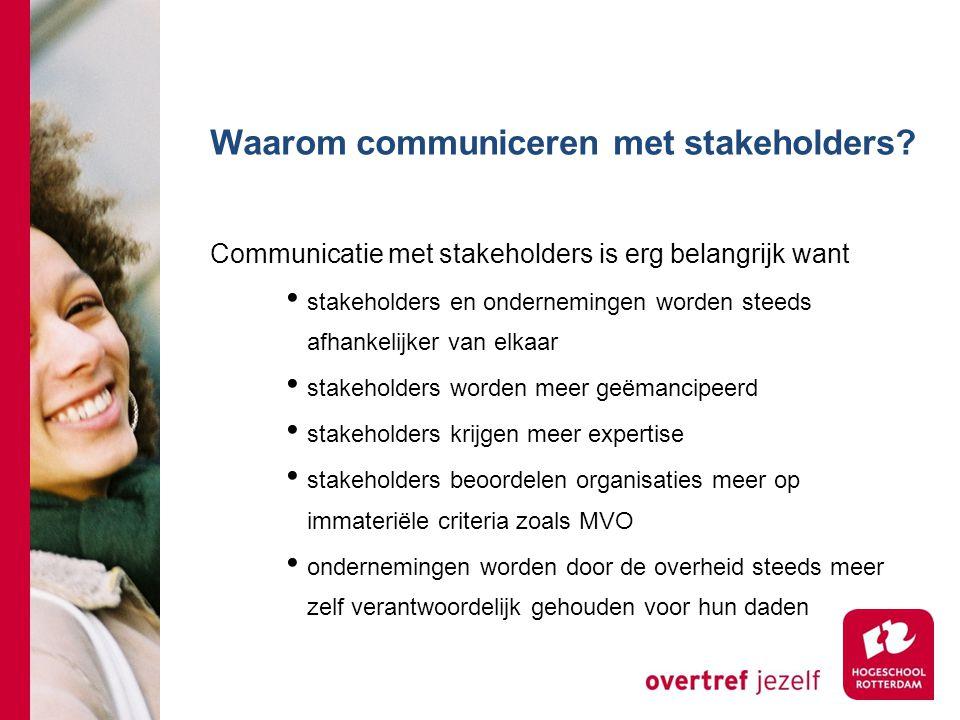 Waarom communiceren met stakeholders? Communicatie met stakeholders is erg belangrijk want stakeholders en ondernemingen worden steeds afhankelijker v