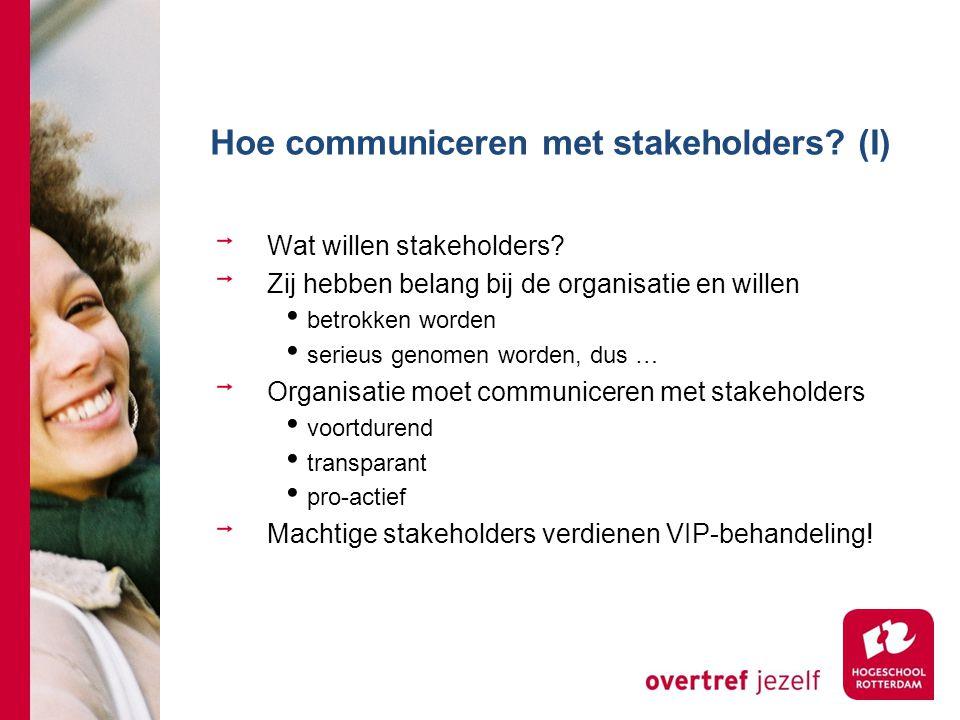 Hoe communiceren met stakeholders? (I) Wat willen stakeholders? Zij hebben belang bij de organisatie en willen betrokken worden serieus genomen worden