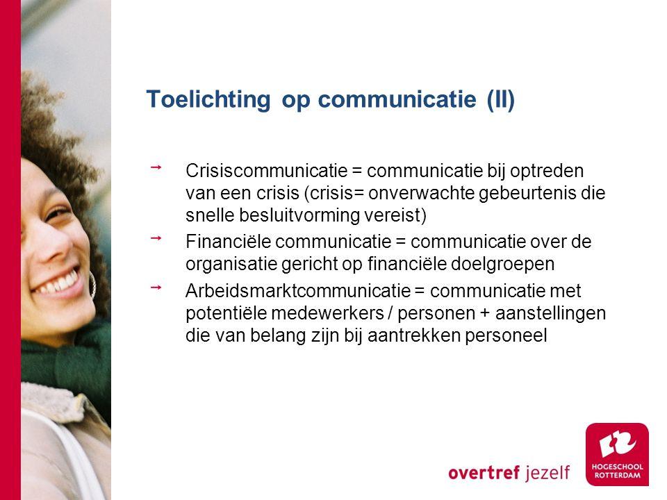 Toelichting op communicatie (II) Crisiscommunicatie = communicatie bij optreden van een crisis (crisis= onverwachte gebeurtenis die snelle besluitvorm