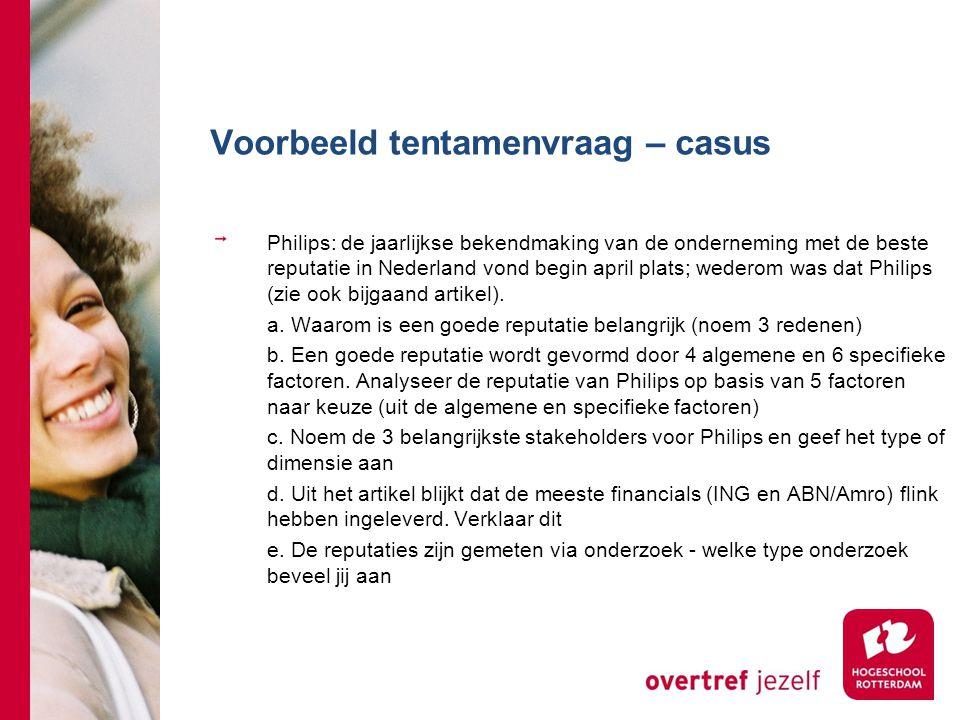 Voorbeeld tentamenvraag – casus Philips: de jaarlijkse bekendmaking van de onderneming met de beste reputatie in Nederland vond begin april plats; wed
