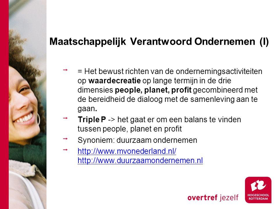Maatschappelijk Verantwoord Ondernemen (II) Planet ProfitPeople Ecologische Prestaties Economische prestaties Sociale prestaties