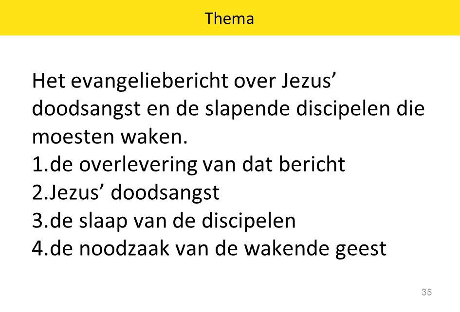 Het evangeliebericht over Jezus' doodsangst en de slapende discipelen die moesten waken. 1.de overlevering van dat bericht 2.Jezus' doodsangst 3.de sl