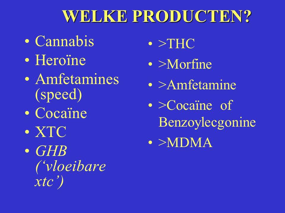 WELKE PRODUCTEN? Cannabis Heroïne Amfetamines (speed) Cocaïne XTC GHB ('vloeibare xtc') >THC >Morfine >Amfetamine >Cocaïne of Benzoylecgonine >MDMA