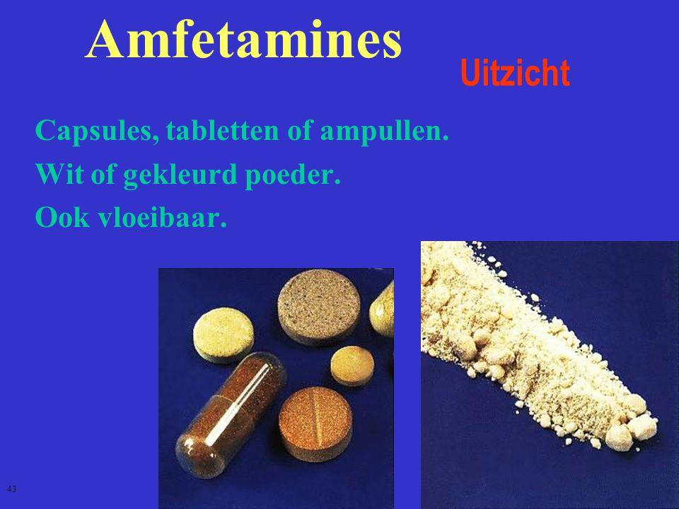 Amfetamines Uitzicht  Capsules, tabletten of ampullen.  Wit of gekleurd poeder.  Ook vloeibaar. 43
