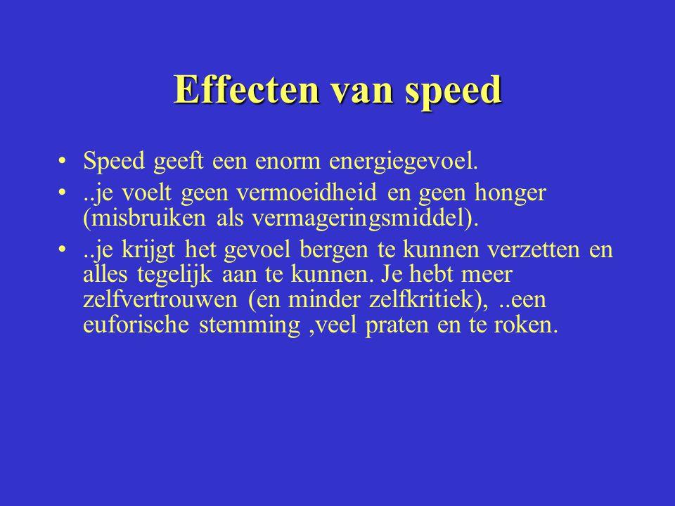 Effecten van speed Speed geeft een enorm energiegevoel...je voelt geen vermoeidheid en geen honger (misbruiken als vermageringsmiddel)...je krijgt het gevoel bergen te kunnen verzetten en alles tegelijk aan te kunnen.
